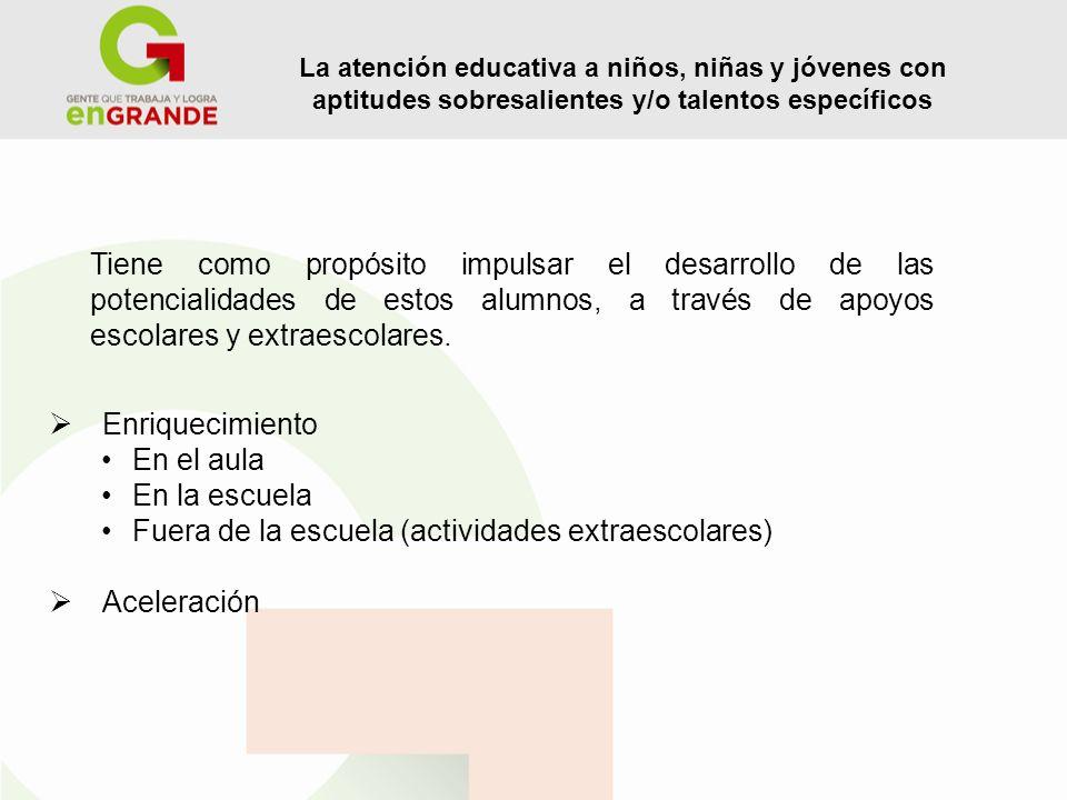 A TENCIÓN EDUCATIVA E NRIQUECIMIENTO El enriquecimiento del contexto educativo se entiende como una serie de acciones planeadas estratégicamente para la mejora de la práctica educativa mediante el enriquecimiento del contexto escolar, áulico y extracurricular que se lleva a cabo al interior de la escuela a través del trabajo colaborativo, dinámico y facilitador del conjunto de sus actores y que, a su vez, ofrece una mejora en la organización y funcionamiento escolar y en los procesos de enseñanza y aprendizaje.
