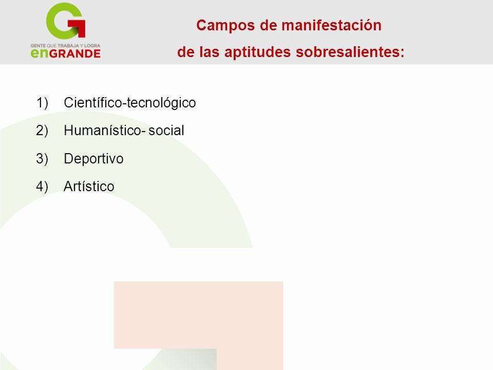 Campos de manifestación de las aptitudes sobresalientes: 1) Científico-tecnológico 2) Humanístico- social 3) Deportivo 4) Artístico