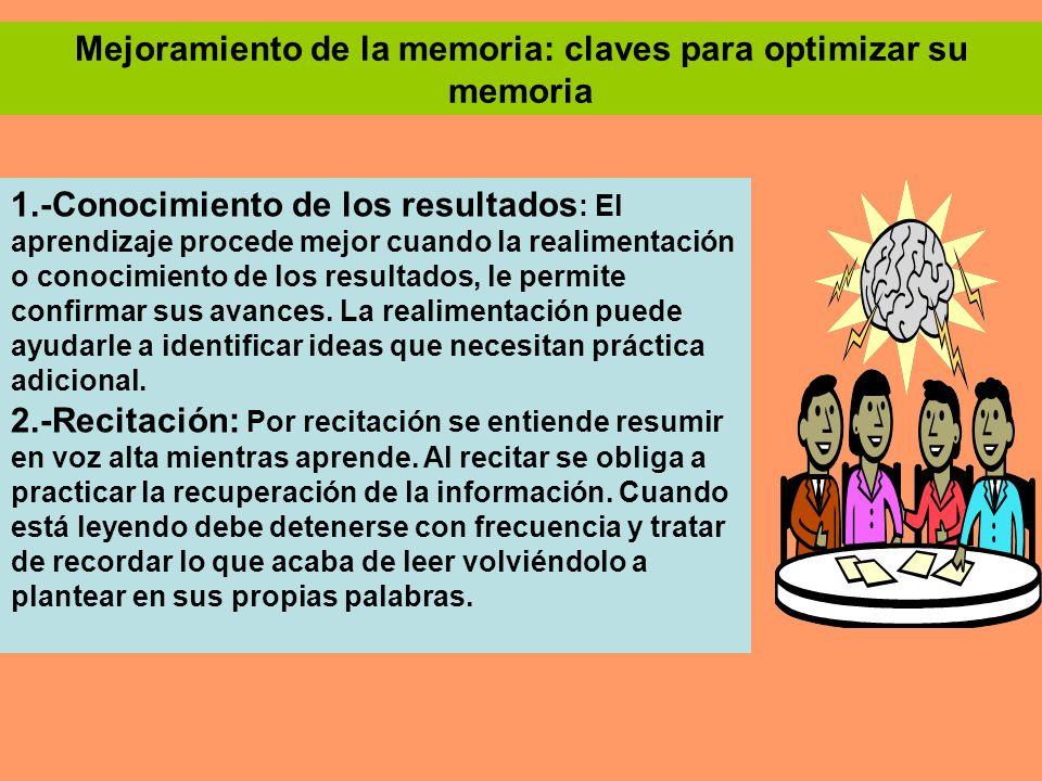 Mejoramiento de la memoria: claves para optimizar su memoria 1.-Conocimiento de los resultados : El aprendizaje procede mejor cuando la realimentación
