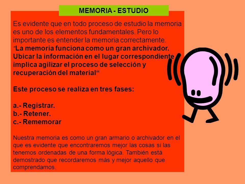 Es evidente que en todo proceso de estudio la memoria es uno de los elementos fundamentales. Pero lo importante es entender la memoria correctamente.