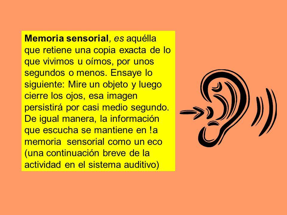Memoria sensorial, es aquélla que retiene una copia exacta de lo que vivimos u oímos, por unos segundos o menos. Ensaye lo siguiente: Mire un objeto y