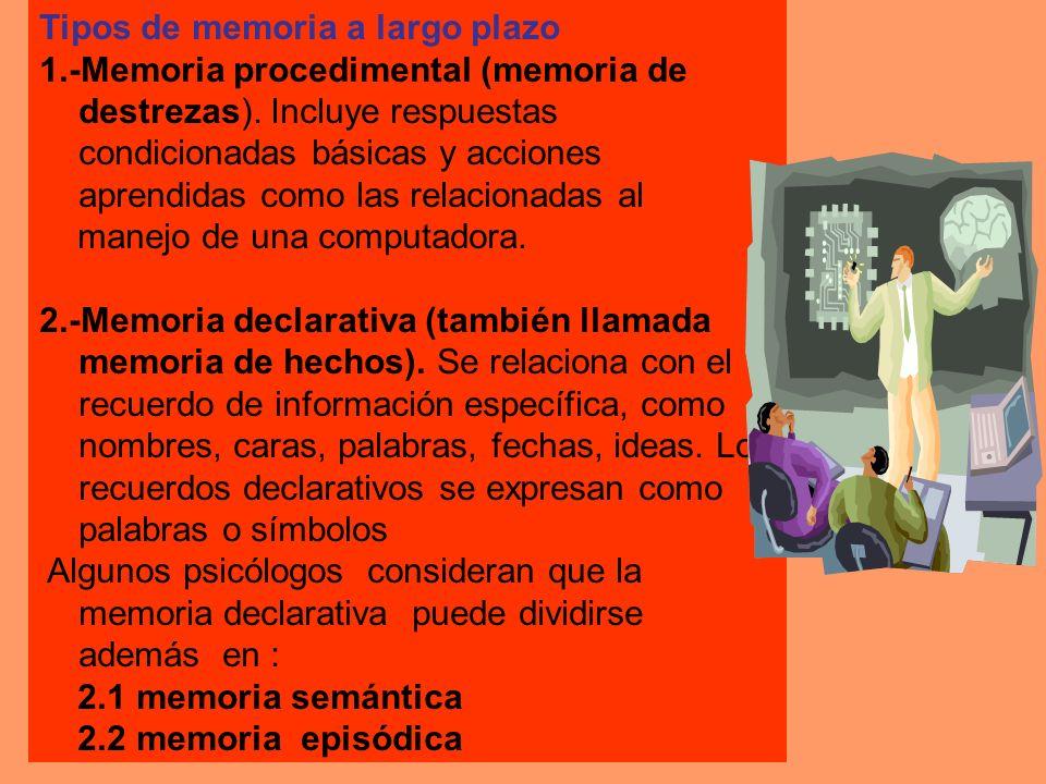 Tipos de memoria a largo plazo 1.-Memoria procedimental (memoria de destrezas). Incluye respuestas condicionadas básicas y acciones aprendidas como la