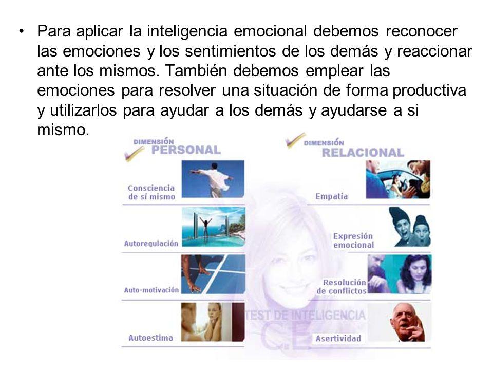 Para aplicar la inteligencia emocional debemos reconocer las emociones y los sentimientos de los demás y reaccionar ante los mismos. También debemos e