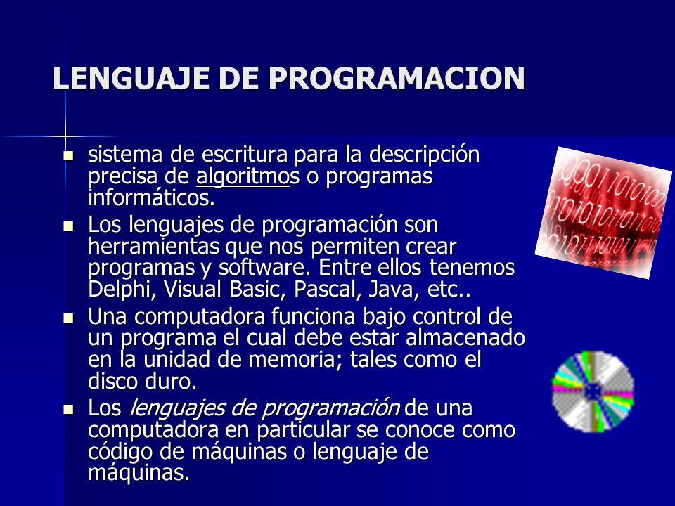 LENGUAJE DE PROGRAMACION sistema de escritura para la descripción precisa de algoritmos o programas informáticos. sistema de escritura para la descrip