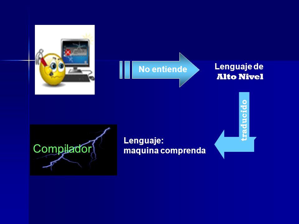 No entiende Lenguaje de Alto Nivel Lenguaje: maquina comprenda Compilador traducido