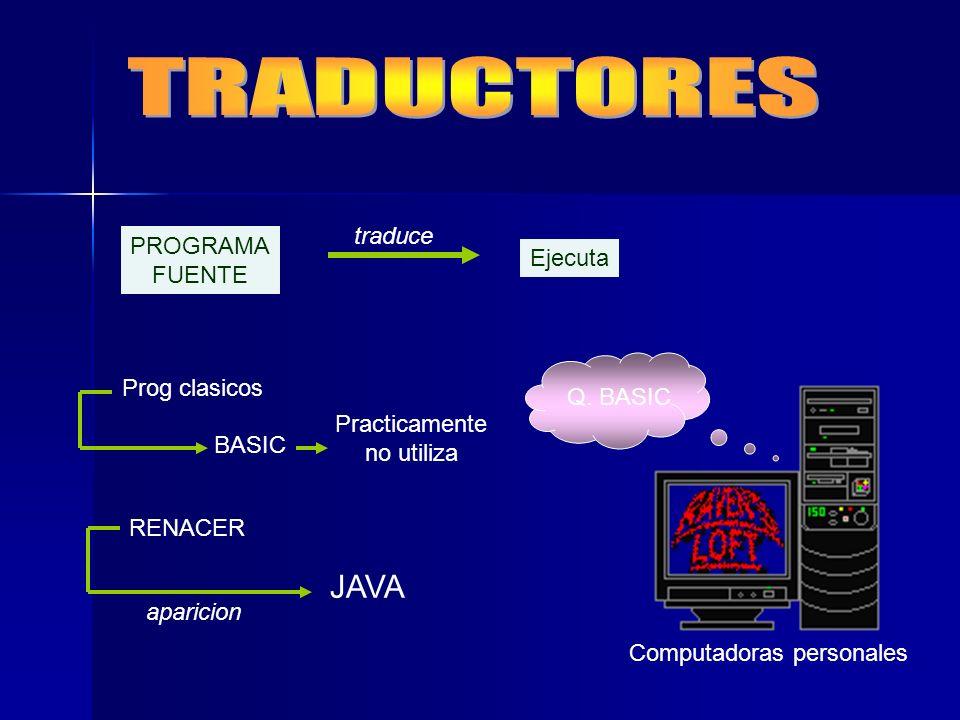 PROGRAMA FUENTE traduce Ejecuta BASIC Prog clasicos Practicamente no utiliza Q. BASIC Computadoras personales RENACER JAVA aparicion