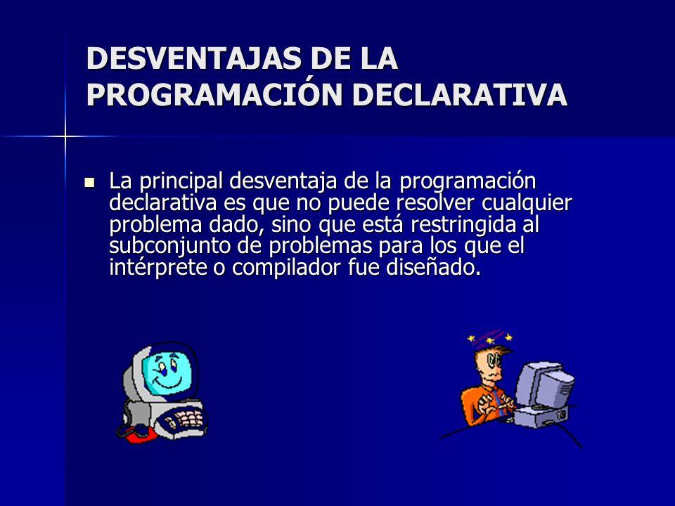 DESVENTAJAS DE LA PROGRAMACIÓN DECLARATIVA La principal desventaja de la programación declarativa es que no puede resolver cualquier problema dado, si