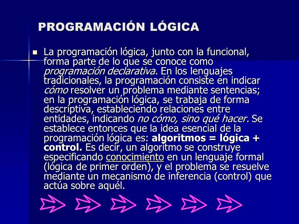 PROGRAMACIÓN LÓGICA La programación lógica, junto con la funcional, forma parte de lo que se conoce como programación declarativa. En los lenguajes tr