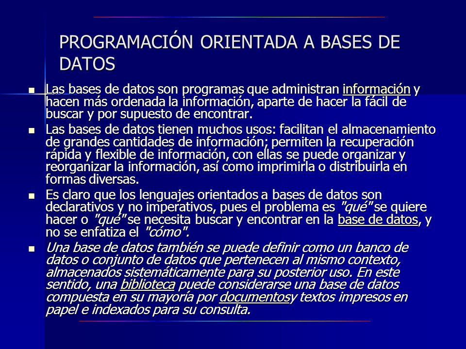 PROGRAMACIÓN ORIENTADA A BASES DE DATOS Las bases de datos son programas que administran información y hacen más ordenada la información, aparte de ha