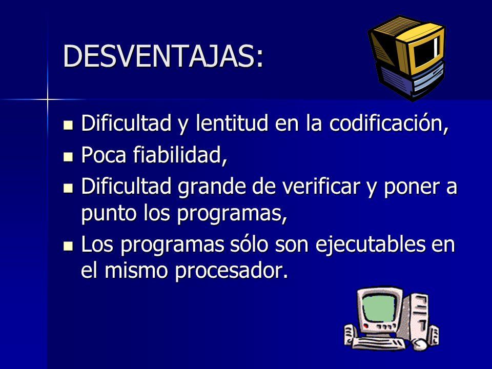 DESVENTAJAS: Dificultad y lentitud en la codificación, Dificultad y lentitud en la codificación, Poca fiabilidad, Poca fiabilidad, Dificultad grande d