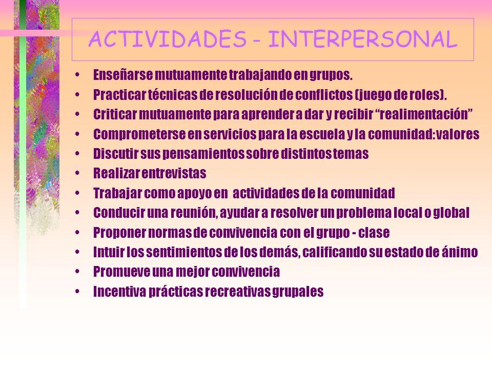 6.- LA INTELIGENCIA INTERPERSONAL Capacidad de entender a los demás e interactuar con ellos; empatía y manejo de las emociones de otros. Actores, polí