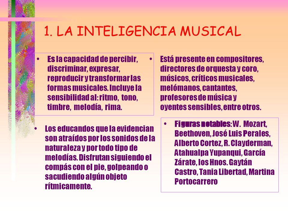 TIPOS DE INTELIGENCIAS 1. MUSICAL 2. CINESTESICO- CORPORAL 3. LINGÜÍSTICA 4. LÓGICO MATEMÁTICA 5. ESPACIAL 6. INTRAPERSONAL 7. INTERPERSONAL 8. NATURA