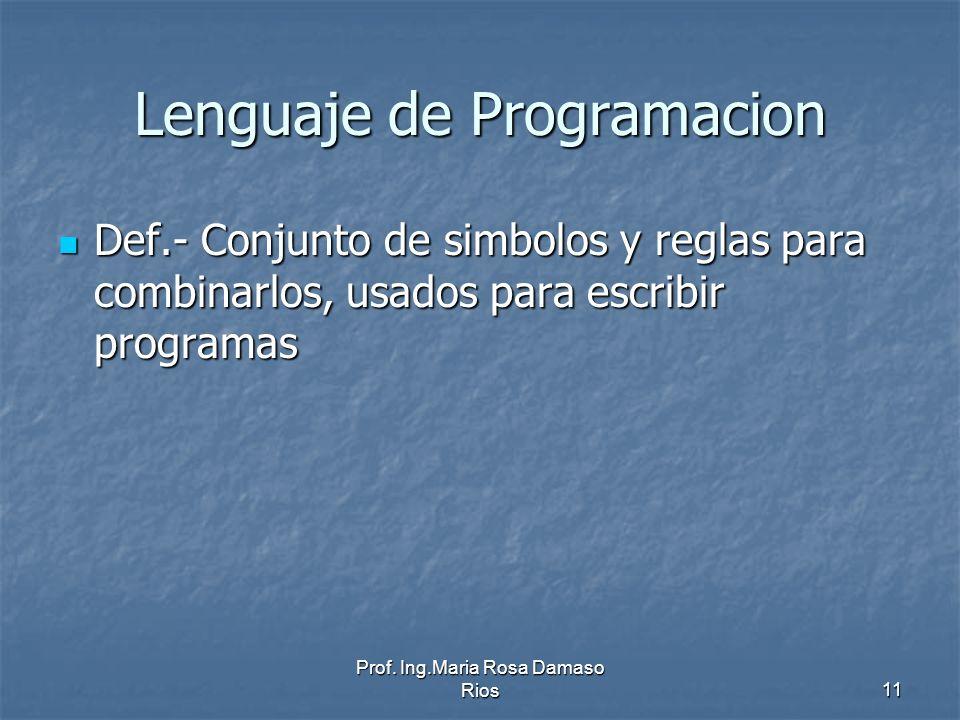 Prof. Ing.Maria Rosa Damaso Rios11 Lenguaje de Programacion Def.- Conjunto de simbolos y reglas para combinarlos, usados para escribir programas Def.-