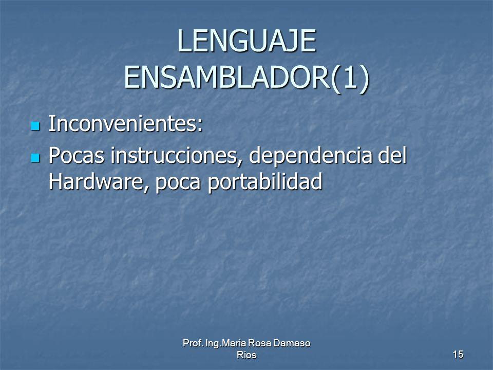 Prof. Ing.Maria Rosa Damaso Rios15 LENGUAJE ENSAMBLADOR(1) Inconvenientes: Inconvenientes: Pocas instrucciones, dependencia del Hardware, poca portabi