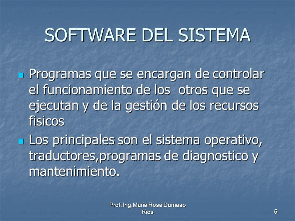 Prof. Ing.Maria Rosa Damaso Rios5 SOFTWARE DEL SISTEMA Programas que se encargan de controlar el funcionamiento de los otros que se ejecutan y de la g