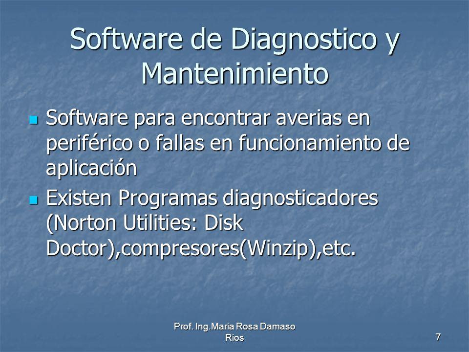 Prof. Ing.Maria Rosa Damaso Rios7 Software de Diagnostico y Mantenimiento Software para encontrar averias en periférico o fallas en funcionamiento de