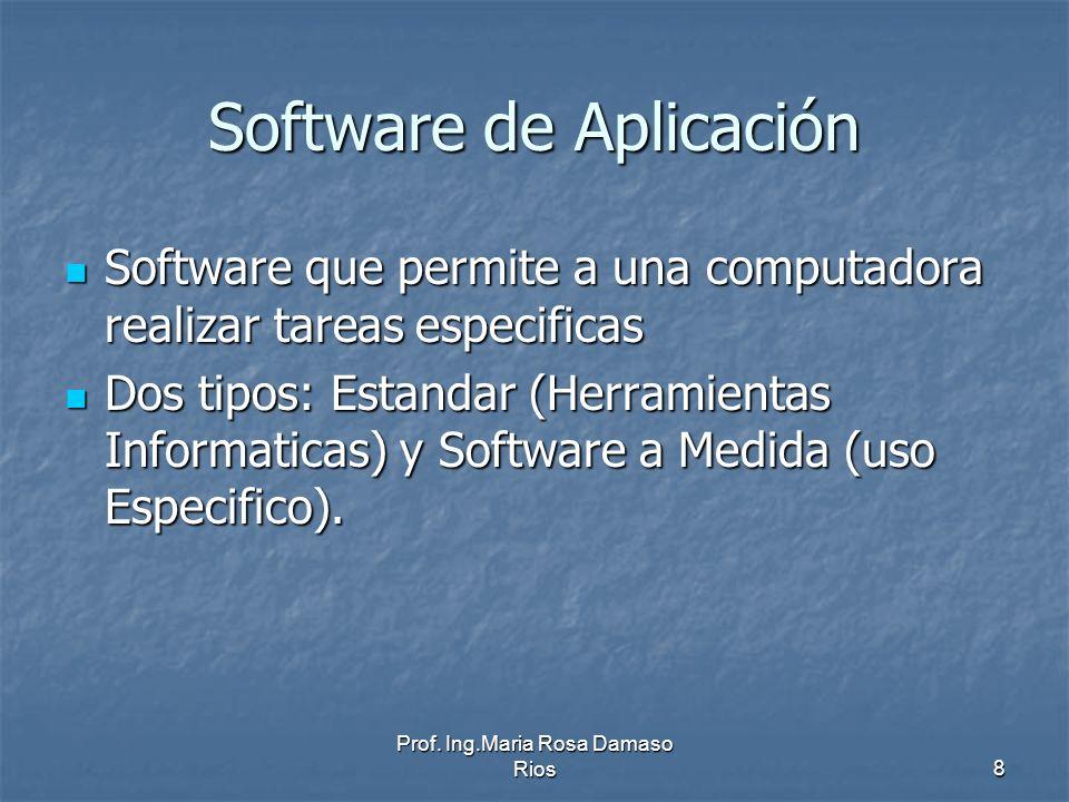 Prof. Ing.Maria Rosa Damaso Rios8 Software de Aplicación Software que permite a una computadora realizar tareas especificas Software que permite a una