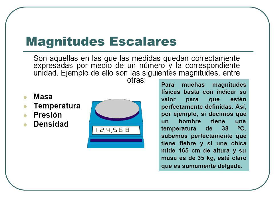 Magnitudes Escalares Son aquellas en las que las medidas quedan correctamente expresadas por medio de un número y la correspondiente unidad. Ejemplo d
