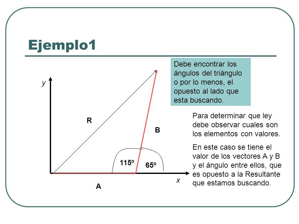 Ejemplo1 x y R A B 65º Debe encontrar los ángulos del triángulo o por lo menos, el opuesto al lado que esta buscando. 115º Para determinar que ley deb