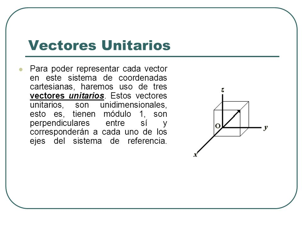 Vectores Unitarios Para poder representar cada vector en este sistema de coordenadas cartesianas, haremos uso de tres vectores unitarios. Estos vector