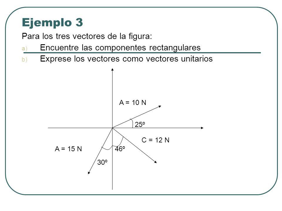 Ejemplo 3 Para los tres vectores de la figura: a) Encuentre las componentes rectangulares b) Exprese los vectores como vectores unitarios 25º 30º 46º
