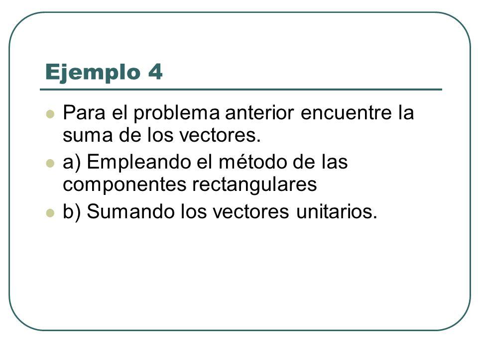 Ejemplo 4 Para el problema anterior encuentre la suma de los vectores. a) Empleando el método de las componentes rectangulares b) Sumando los vectores