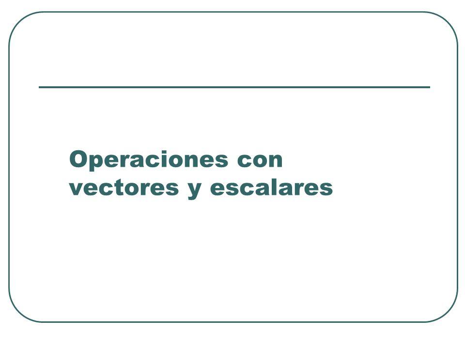 Operaciones con vectores y escalares