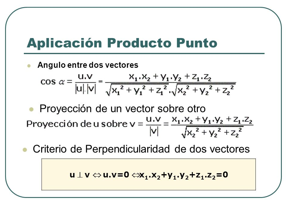 Aplicación Producto Punto Angulo entre dos vectores Proyección de un vector sobre otro Criterio de Perpendicularidad de dos vectores u v u.v=0 x 1.x 2