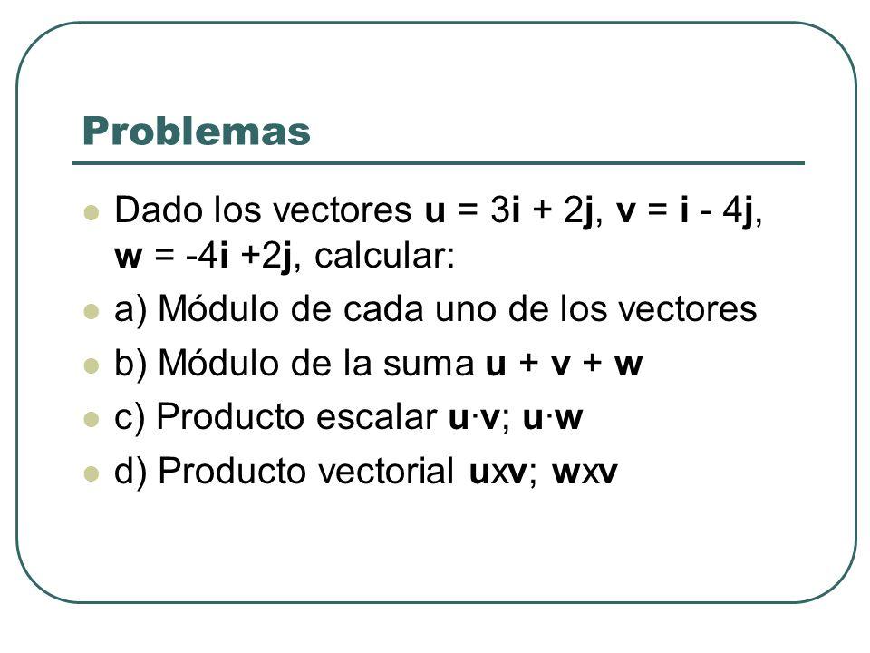 Problemas Dado los vectores u = 3i + 2j, v = i - 4j, w = -4i +2j, calcular: a) Módulo de cada uno de los vectores b) Módulo de la suma u + v + w c) Pr