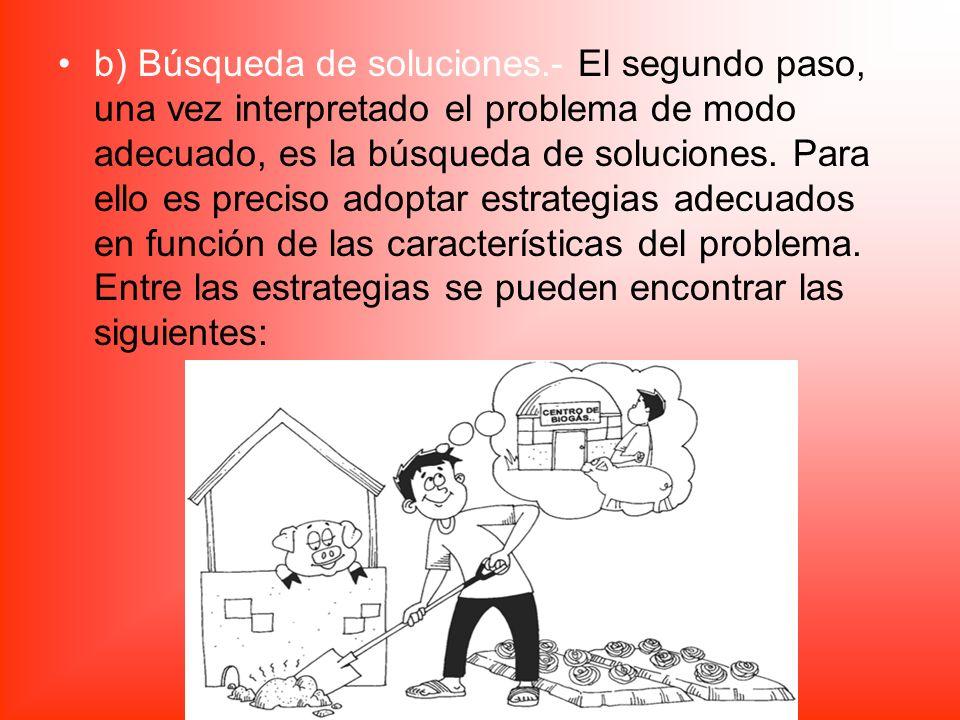 b) Búsqueda de soluciones.- El segundo paso, una vez interpretado el problema de modo adecuado, es la búsqueda de soluciones. Para ello es preciso ado