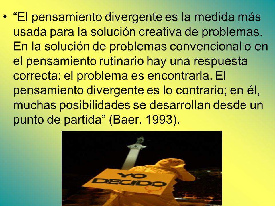 El pensamiento divergente es la medida más usada para la solución creativa de problemas. En la solución de problemas convencional o en el pensamiento