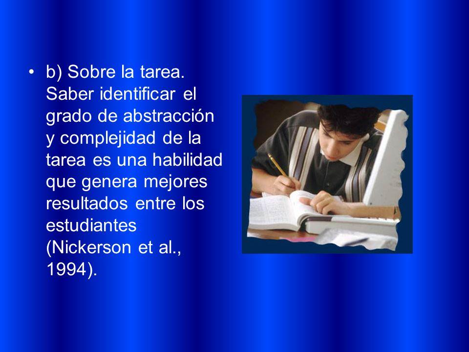 b) Sobre la tarea. Saber identificar el grado de abstracción y complejidad de la tarea es una habilidad que genera mejores resultados entre los estudi