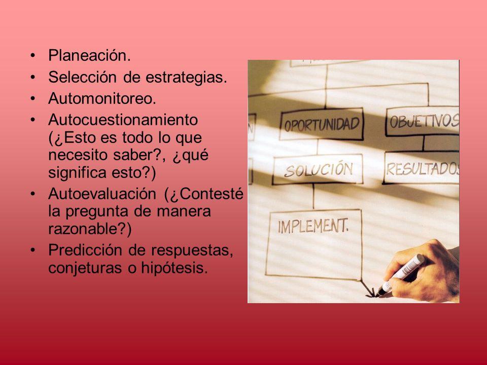 Planeación. Selección de estrategias. Automonitoreo. Autocuestionamiento (¿Esto es todo lo que necesito saber?, ¿qué significa esto?) Autoevaluación (