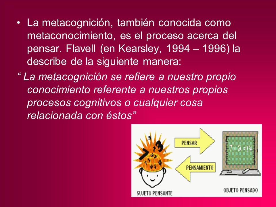 La metacognición, también conocida como metaconocimiento, es el proceso acerca del pensar. Flavell (en Kearsley, 1994 – 1996) la describe de la siguie