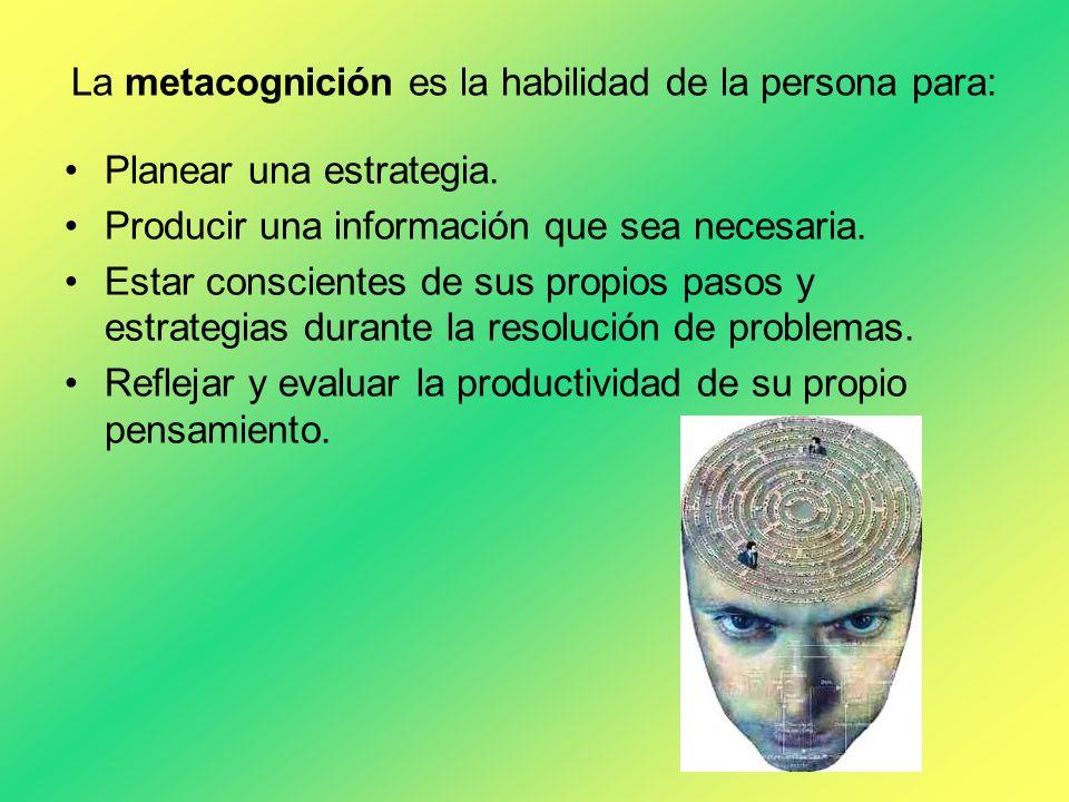 La metacognición es la habilidad de la persona para: Planear una estrategia. Producir una información que sea necesaria. Estar conscientes de sus prop