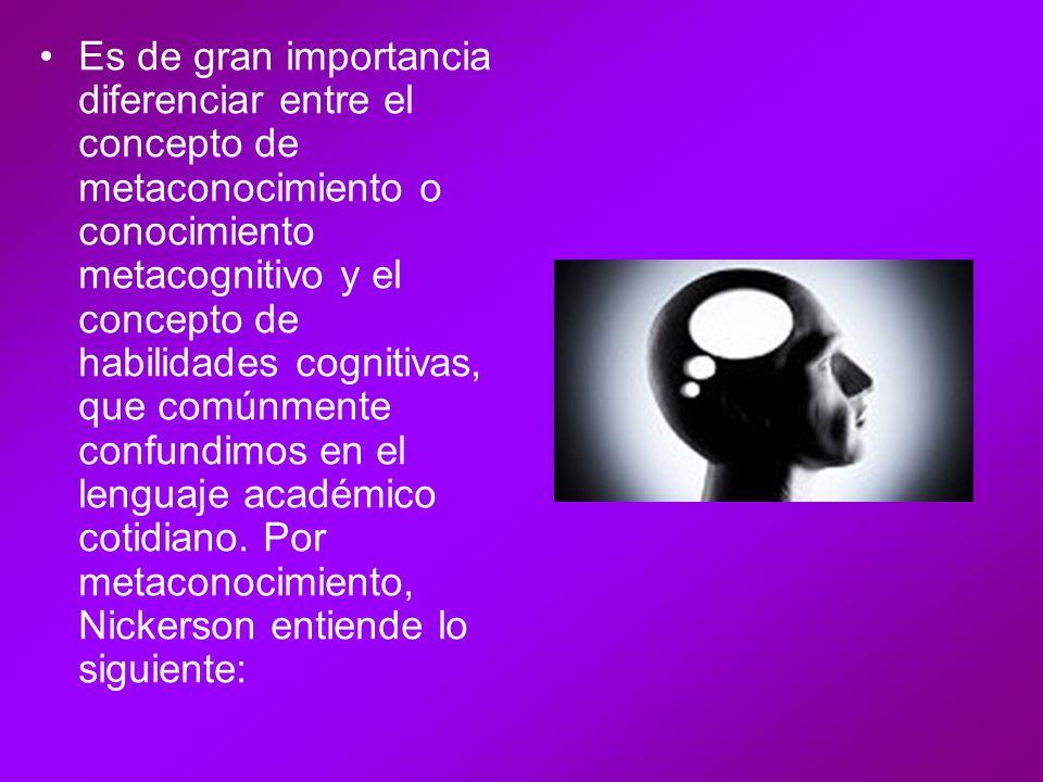[…] es el conocimiento sobre el conocimiento y el saber, e incluye el conocimiento de las capacidades y limitaciones del pensamiento humano, de lo que se puede esperar que sepan los seres humanos en general y de las características de persona específicas, en especial de uno mismo, en cuanto a individuos conocedores y pensantes (Nickerson et al., 1994, p.