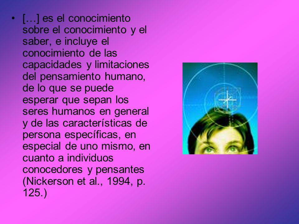 […] es el conocimiento sobre el conocimiento y el saber, e incluye el conocimiento de las capacidades y limitaciones del pensamiento humano, de lo que