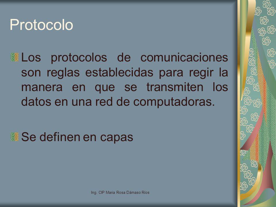 Ing. CIP Maria Rosa Dámaso Ríos Protocolo Los protocolos de comunicaciones son reglas establecidas para regir la manera en que se transmiten los datos