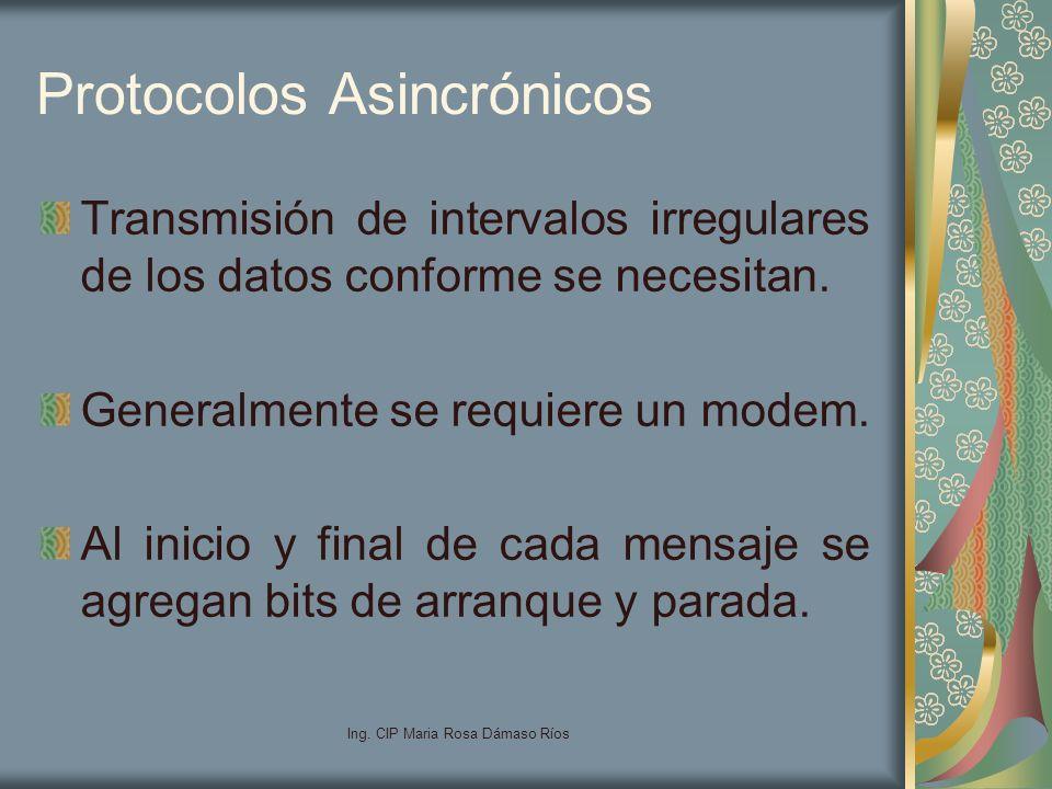 Ing. CIP Maria Rosa Dámaso Ríos Protocolos Asincrónicos Transmisión de intervalos irregulares de los datos conforme se necesitan. Generalmente se requ