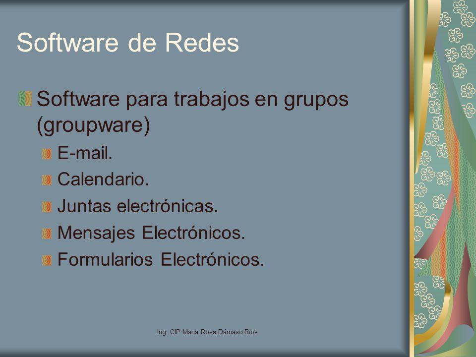 Ing. CIP Maria Rosa Dámaso Ríos Software de Redes Software para trabajos en grupos (groupware) E-mail. Calendario. Juntas electrónicas. Mensajes Elect