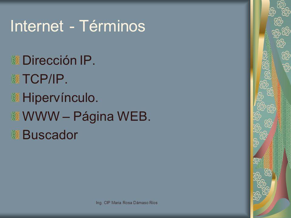 Ing. CIP Maria Rosa Dámaso Ríos Internet - Términos Dirección IP. TCP/IP. Hipervínculo. WWW – Página WEB. Buscador
