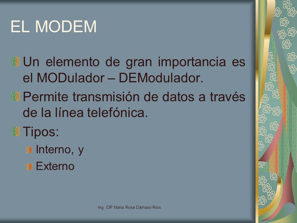 Ing. CIP Maria Rosa Dámaso Ríos EL MODEM Un elemento de gran importancia es el MODulador – DEModulador. Permite transmisión de datos a través de la lí