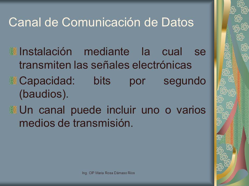 Ing. CIP Maria Rosa Dámaso Ríos Canal de Comunicación de Datos Instalación mediante la cual se transmiten las señales electrónicas Capacidad: bits por