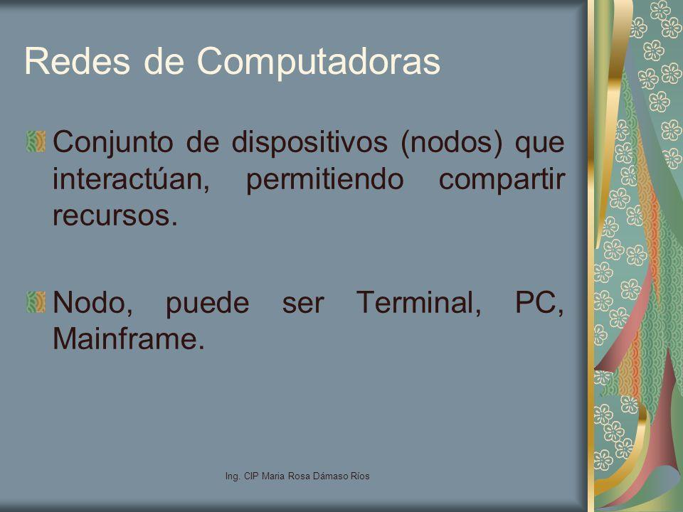Ing. CIP Maria Rosa Dámaso Ríos Redes de Computadoras Conjunto de dispositivos (nodos) que interactúan, permitiendo compartir recursos. Nodo, puede se