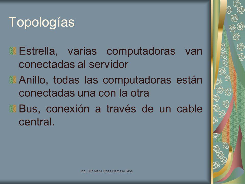Ing. CIP Maria Rosa Dámaso Ríos Topologías Estrella, varias computadoras van conectadas al servidor Anillo, todas las computadoras están conectadas un