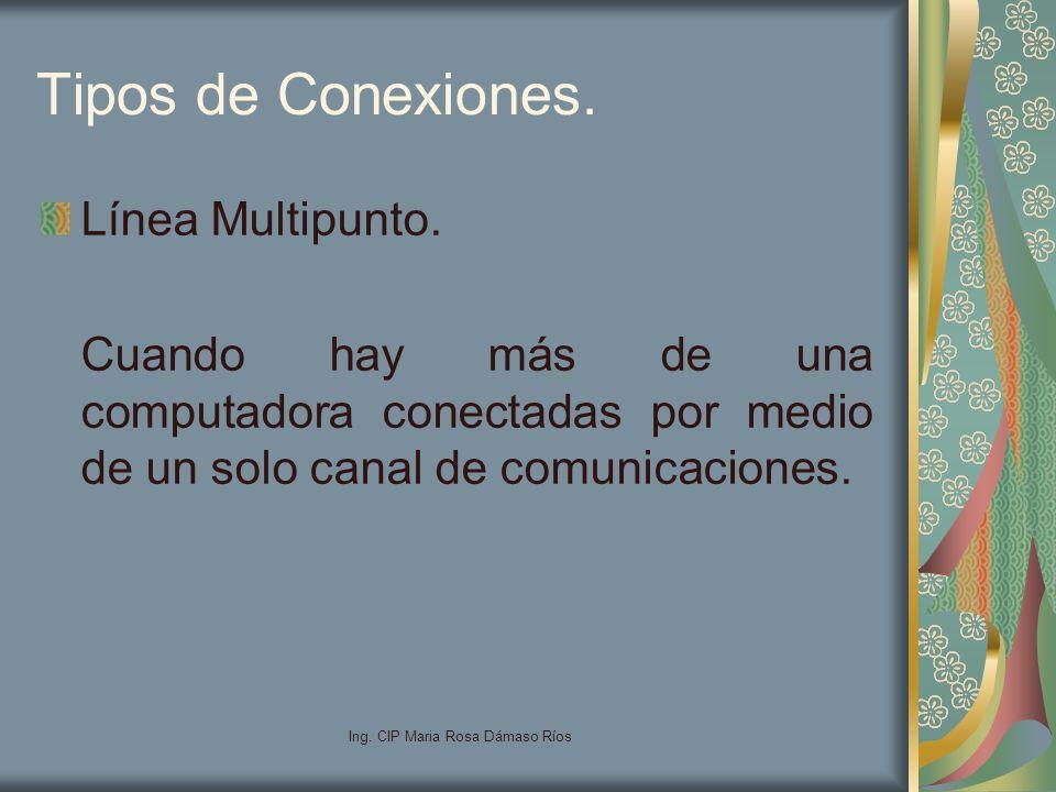 Ing. CIP Maria Rosa Dámaso Ríos Tipos de Conexiones. Línea Multipunto. Cuando hay más de una computadora conectadas por medio de un solo canal de comu