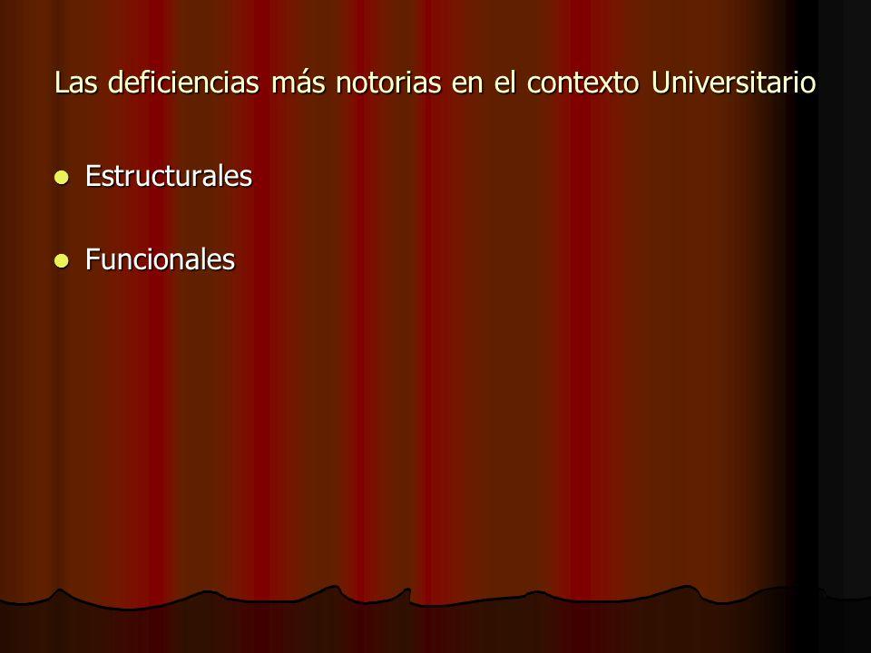 Las deficiencias más notorias en el contexto Universitario Estructurales Estructurales Funcionales Funcionales
