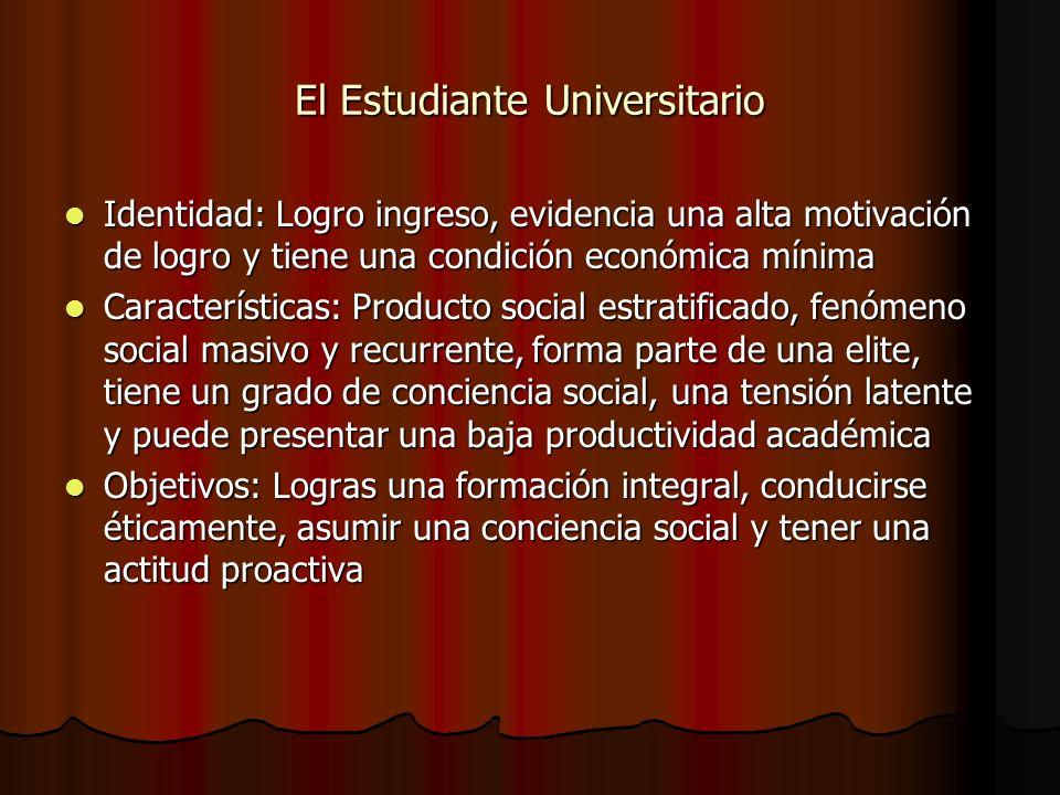 El Estudiante Universitario Identidad: Logro ingreso, evidencia una alta motivación de logro y tiene una condición económica mínima Identidad: Logro i