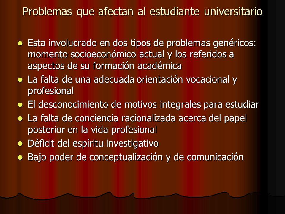 Problemas que afectan al estudiante universitario Esta involucrado en dos tipos de problemas genéricos: momento socioeconómico actual y los referidos