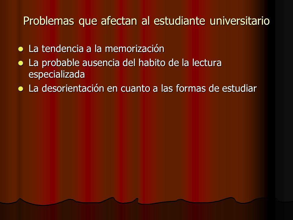 Problemas que afectan al estudiante universitario La tendencia a la memorización La tendencia a la memorización La probable ausencia del habito de la